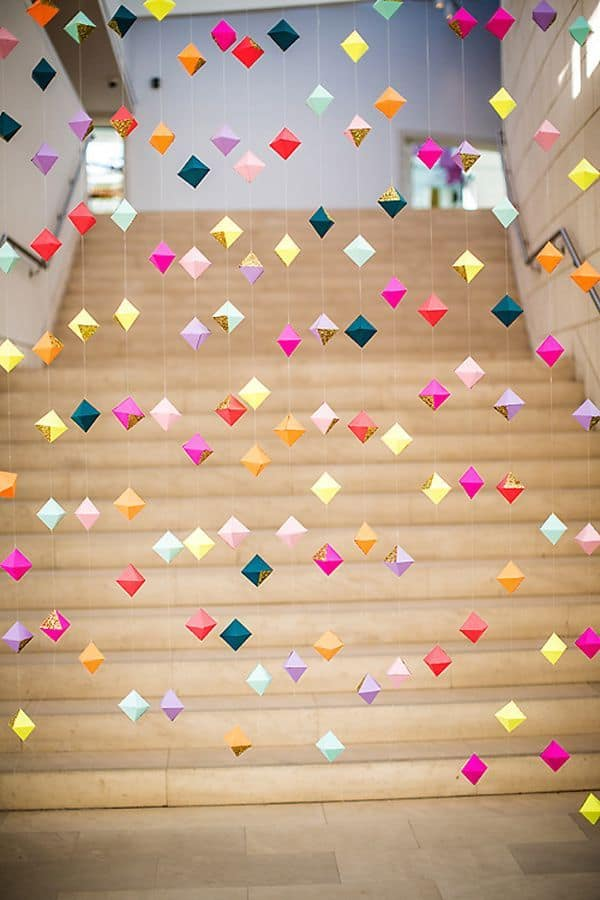 Origami diamond vertical garlands