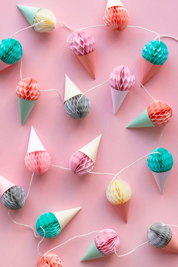 Paper and tissue ice cream garland