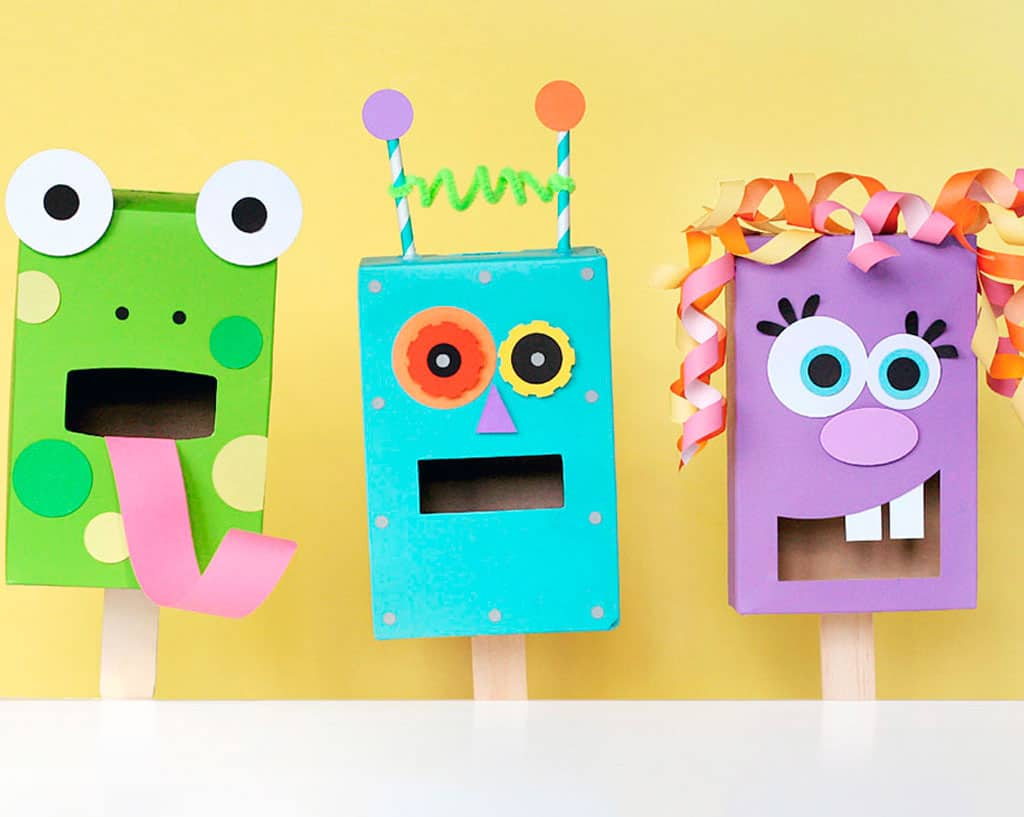 Pasta box monster puppets
