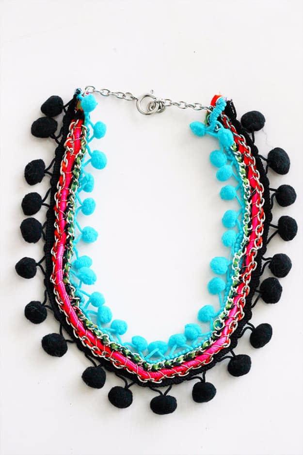 Pom pom trim and jewelry chain necklace