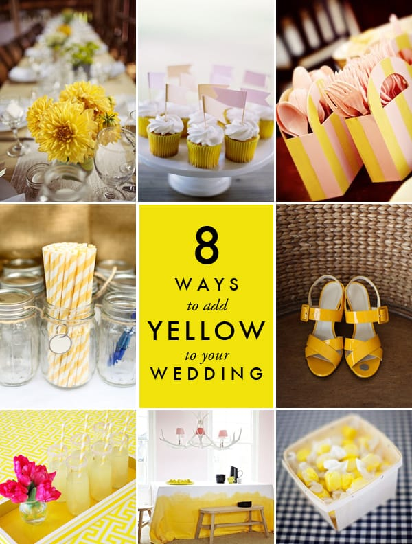Pops of yellow with white, pink and peach at a wedding