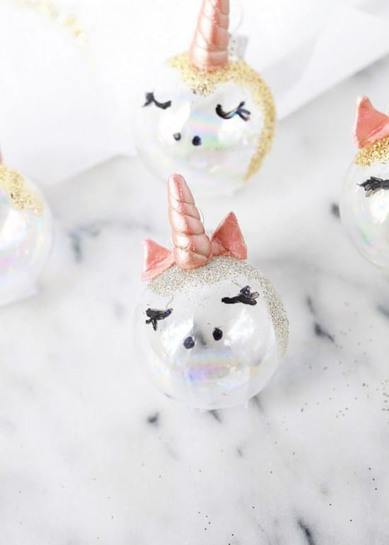 Pretty glass unicorn ornaments