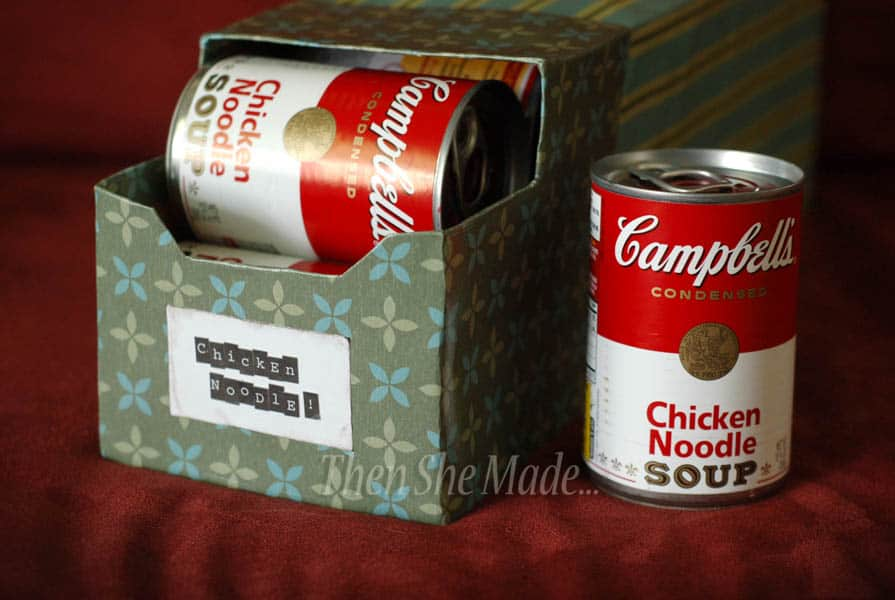 Recycled soda box soup can organizer