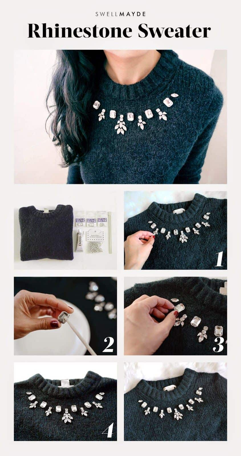 Rhinestone sweater from a repurposed necklace