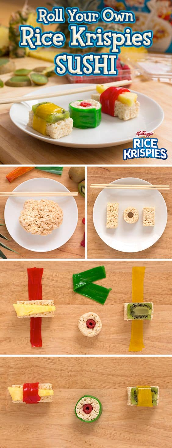 Rice krispy square sushi
