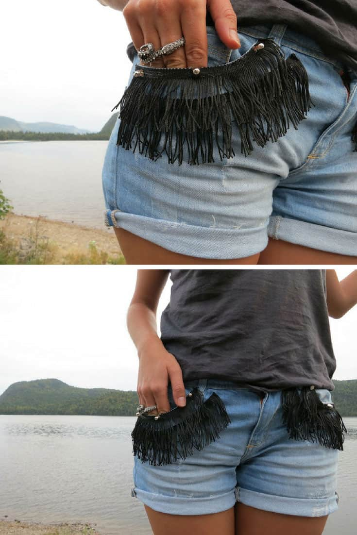 Rolled up cut offs with fringed pockets