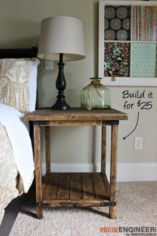 Rustic square bedside table from recycled wood