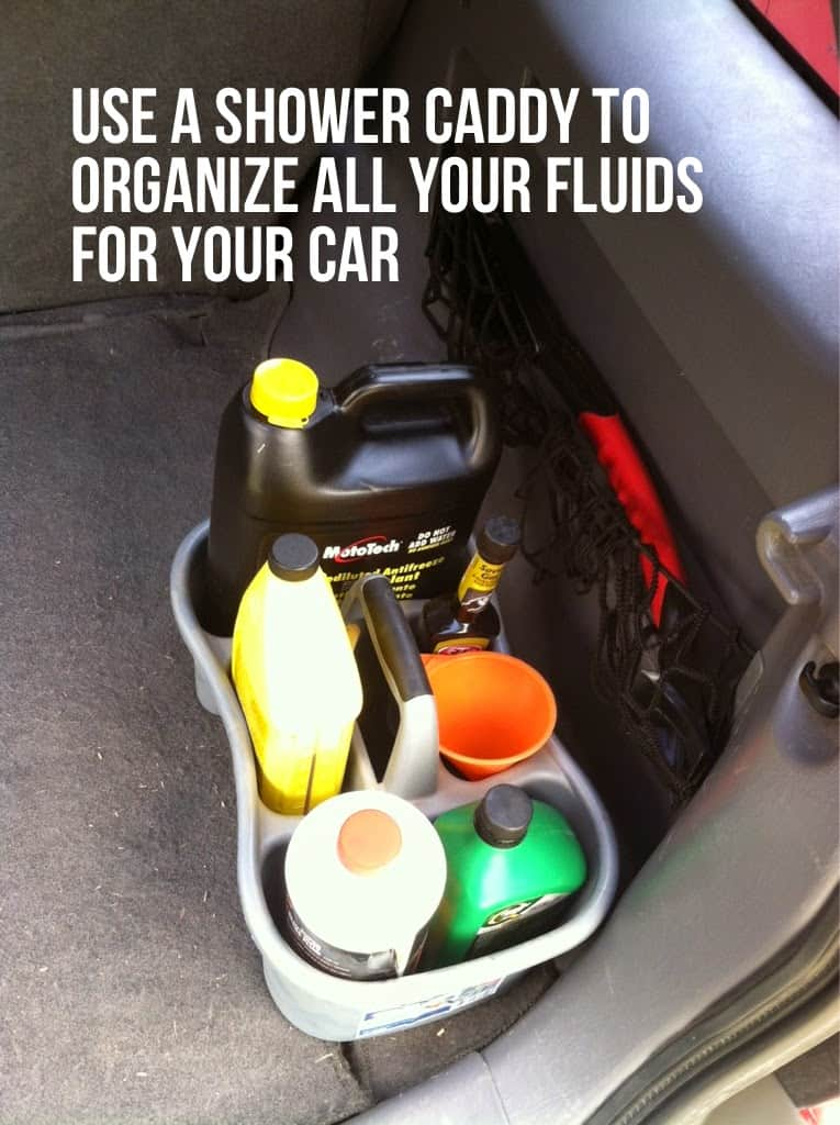 Shower caddy for car fluids