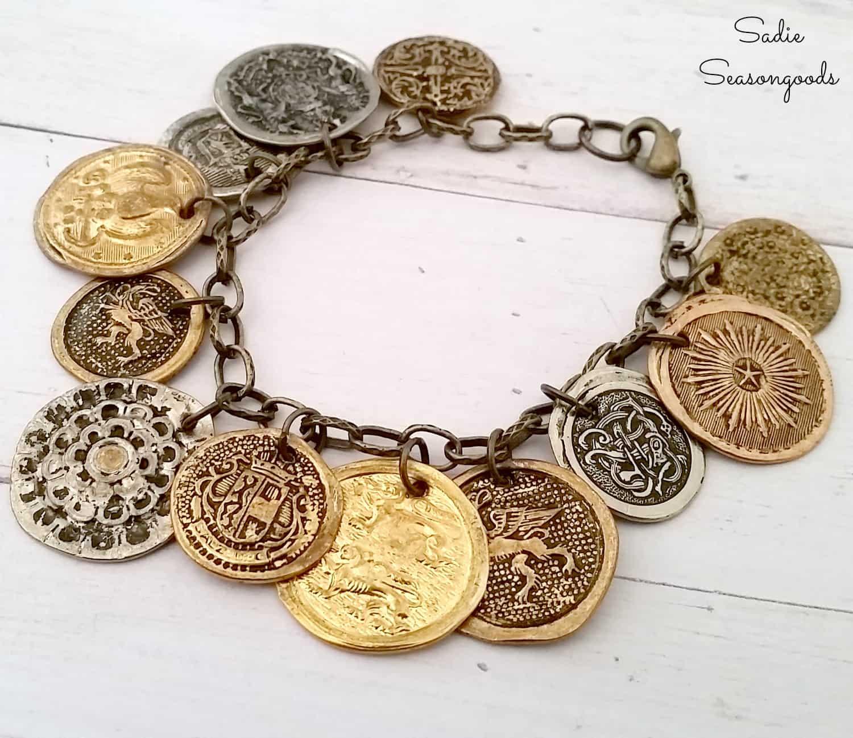 Smashed vintage metal buttons bracelet