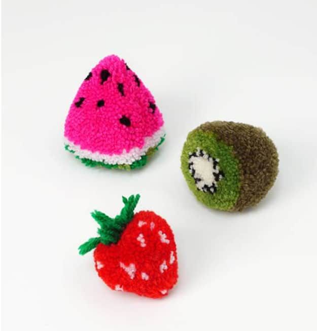 Soft fruit shaped pom pom toys