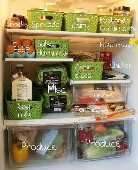 Storage baskets as fridge oragnizers