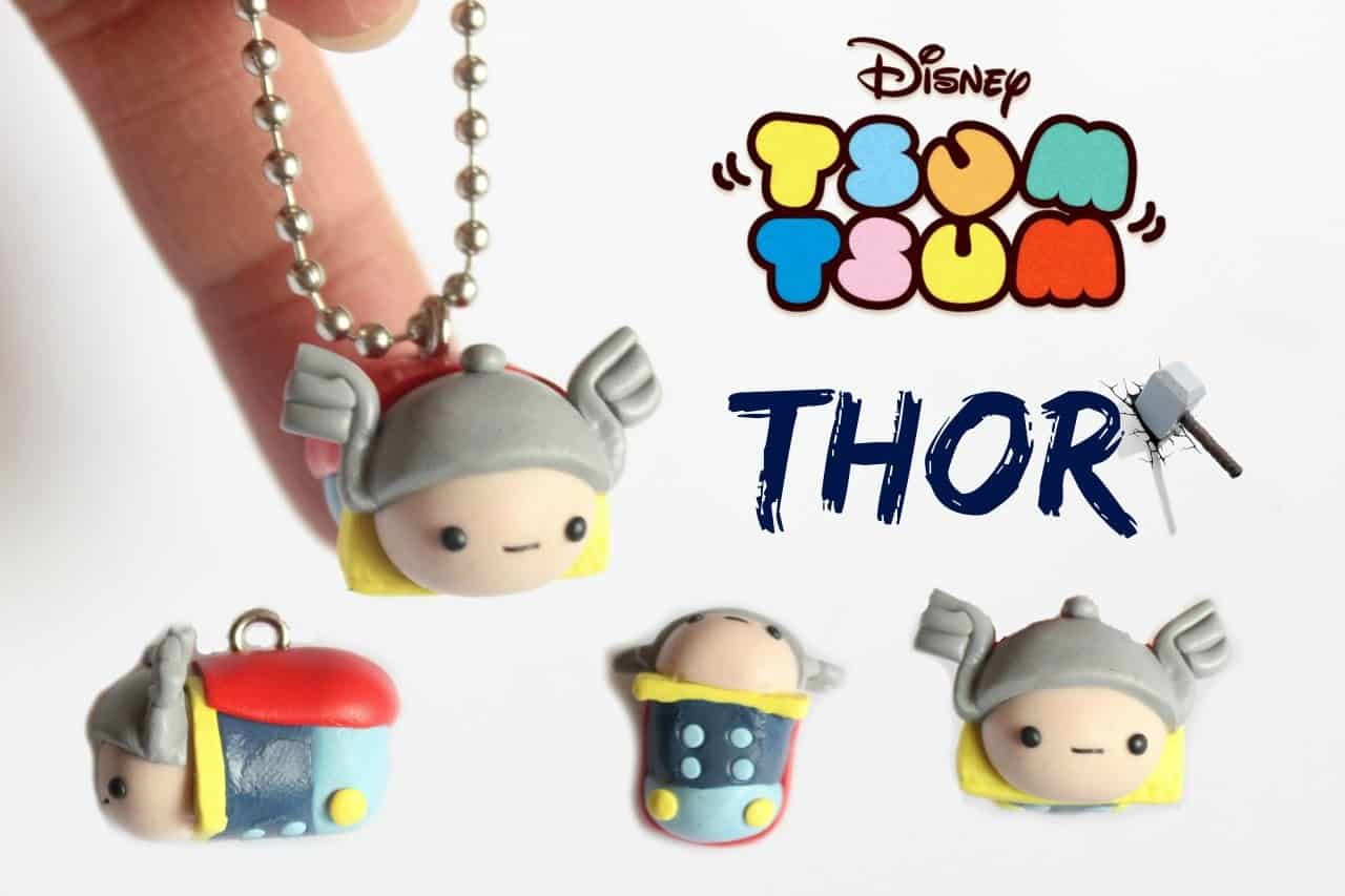 Tsum tsum thor neclace from polymer clay