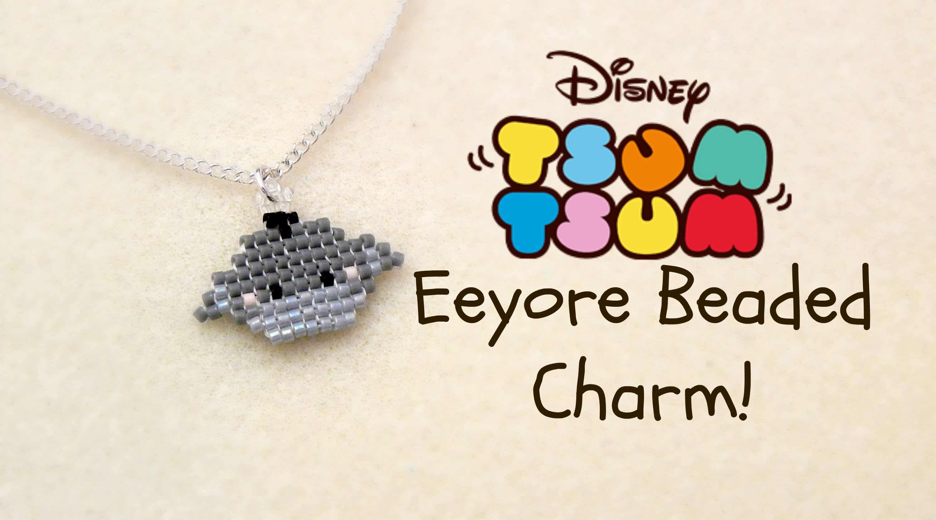 Tsum tsum inspired beaded eeyore necklace charm