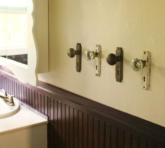 Use old door knobs as towel hangers