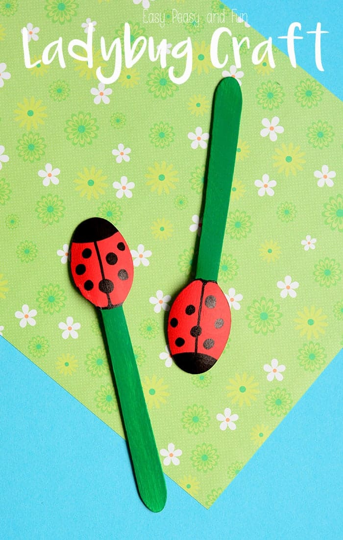 Wooden spoon lady bug puppets