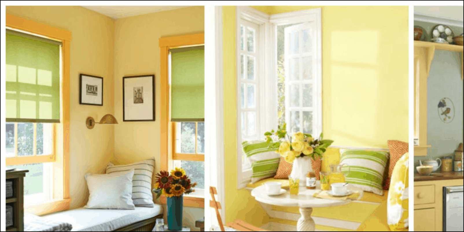 Yellow and soft green at home
