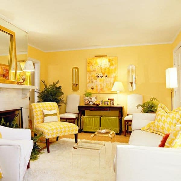 Yellow walls with yellow seating at home
