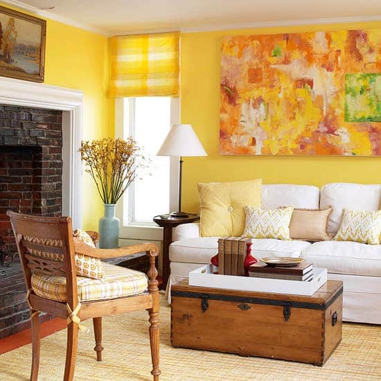 Yellow walls with yellow statement art