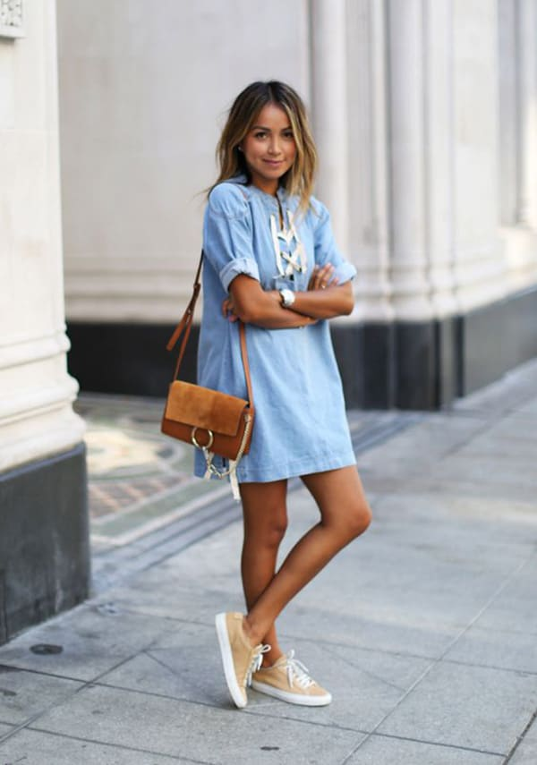 Chambray dress with sneakers for spring