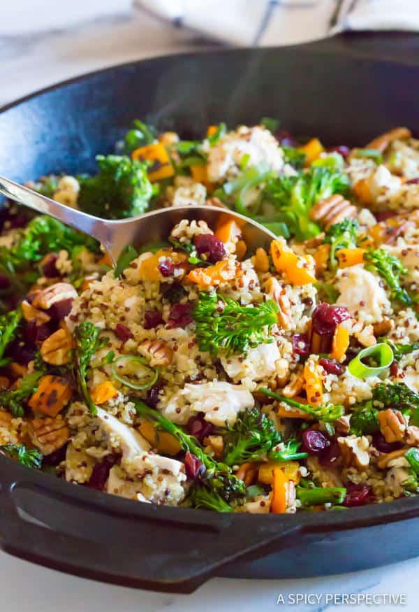 Chicken broccoli quinoa skillet