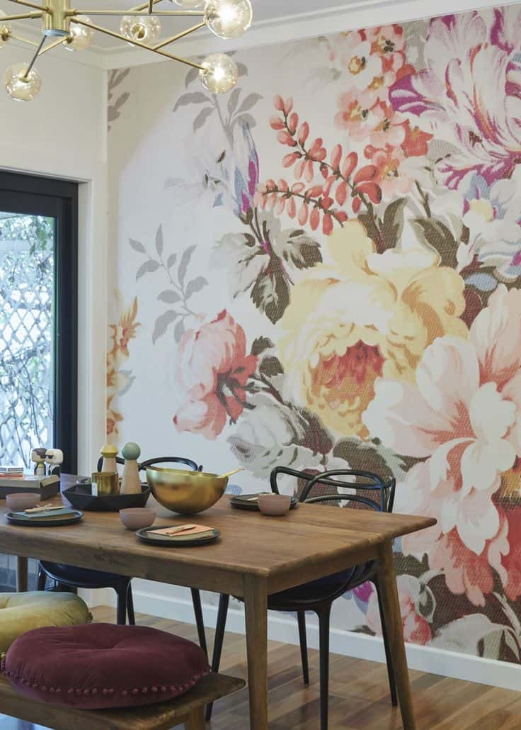 Dining room wallpaper floral mural
