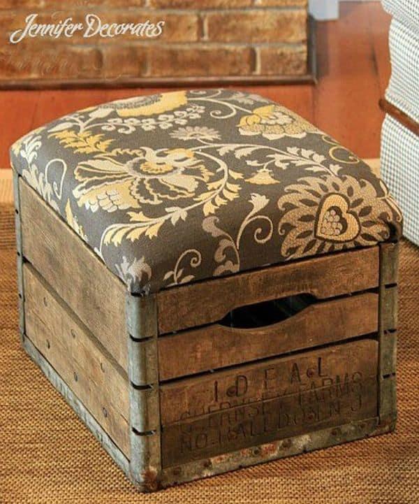 Diy rustic milk crate ottoman