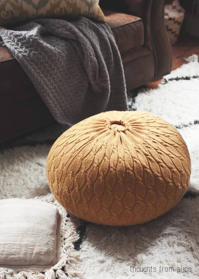 Diy rustic sweater pouf