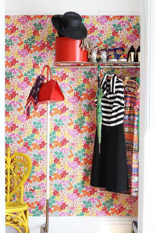 Fabric floral wallpaper diy