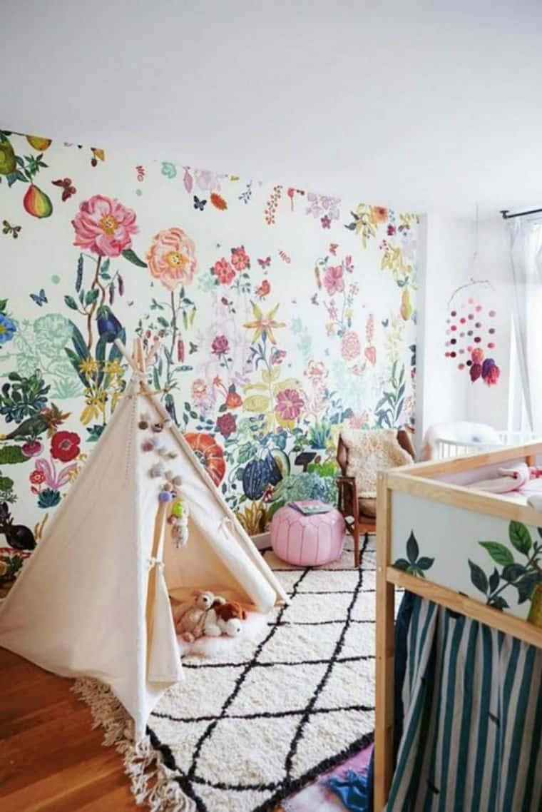Floral wallpaper for kids playroom