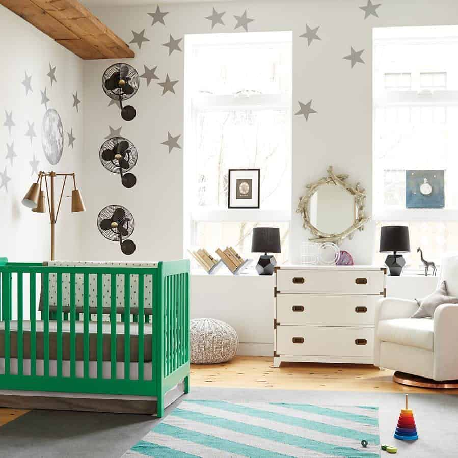 Green crib in boy nursery idea
