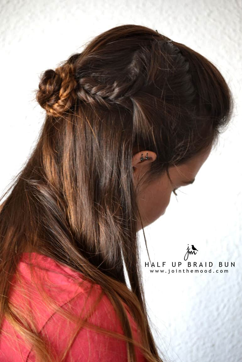 Half up braid bun tutorial