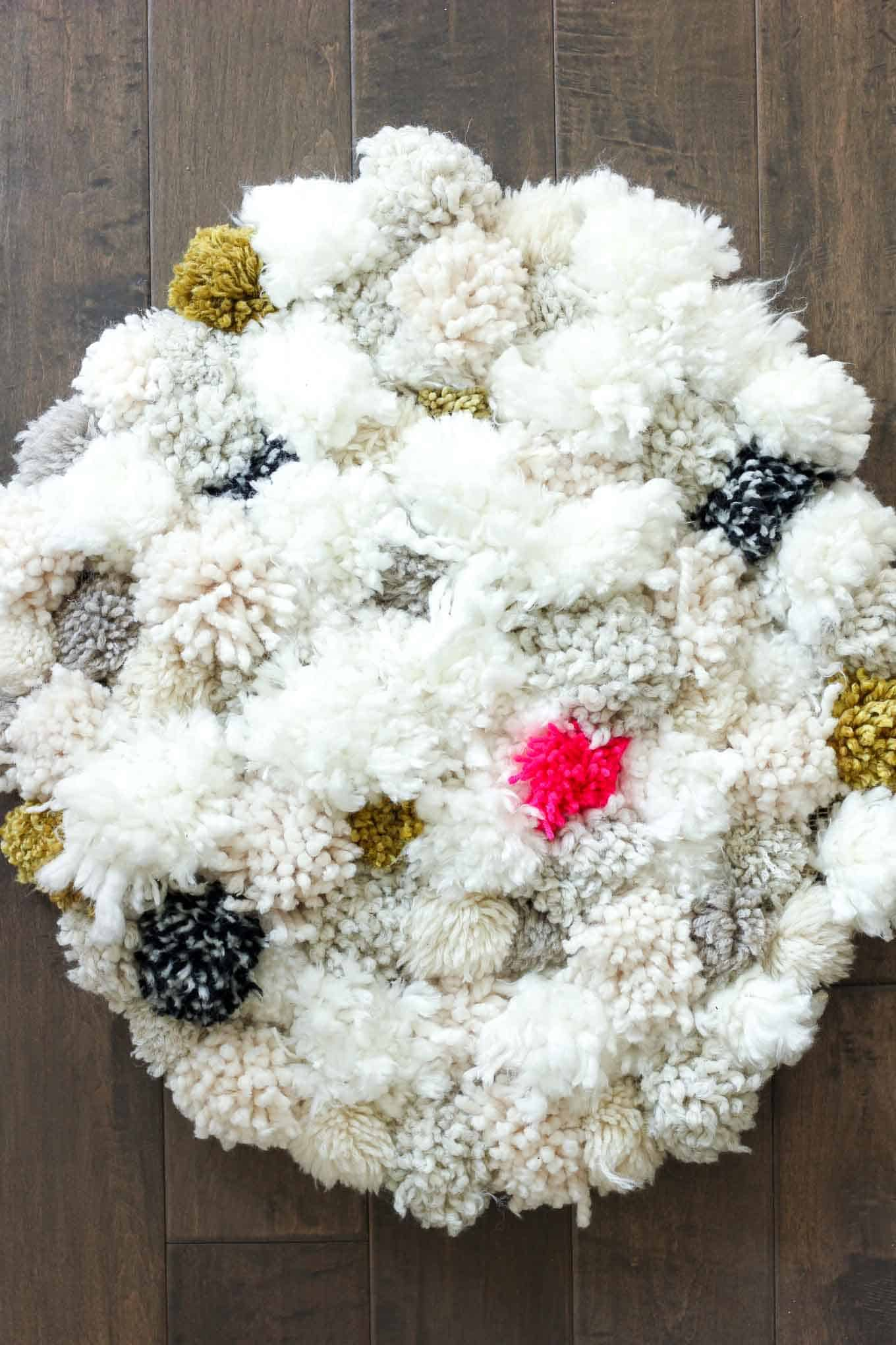 How to make a diy pom pom rug
