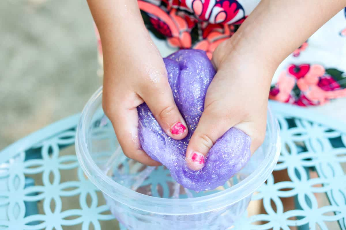 Kid friendly slime with glitter