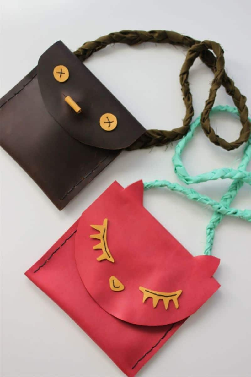 Leather pouch kids diy
