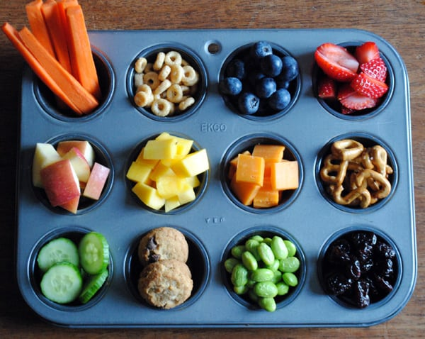 Muffin tin as a snack tray