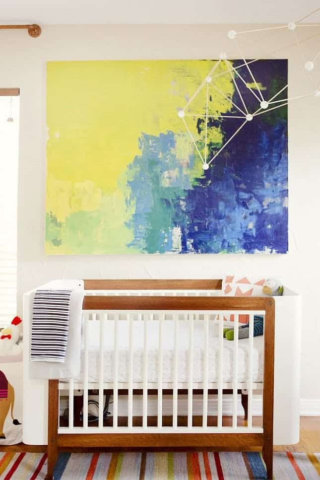 Oversized artwork in gender neutral nursery