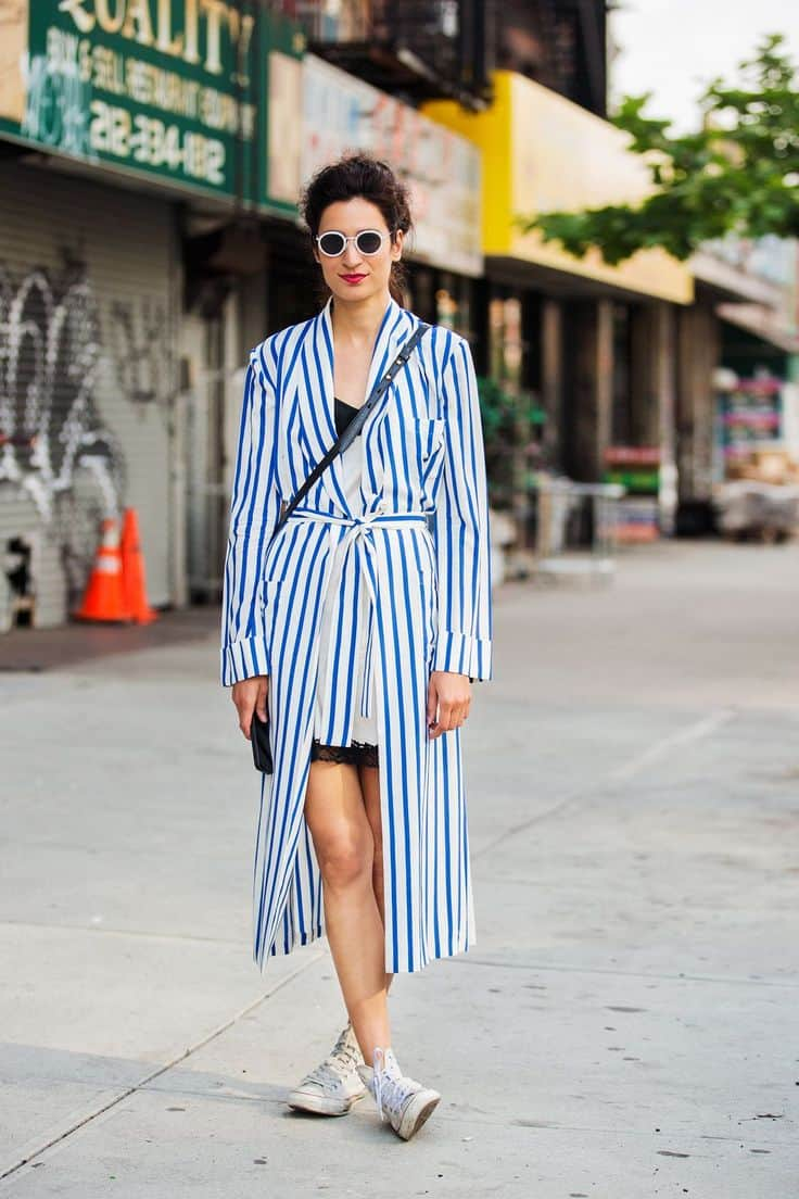 Striped duster spring outfit