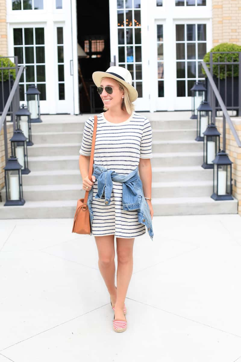 Striped tshirt dress with toms