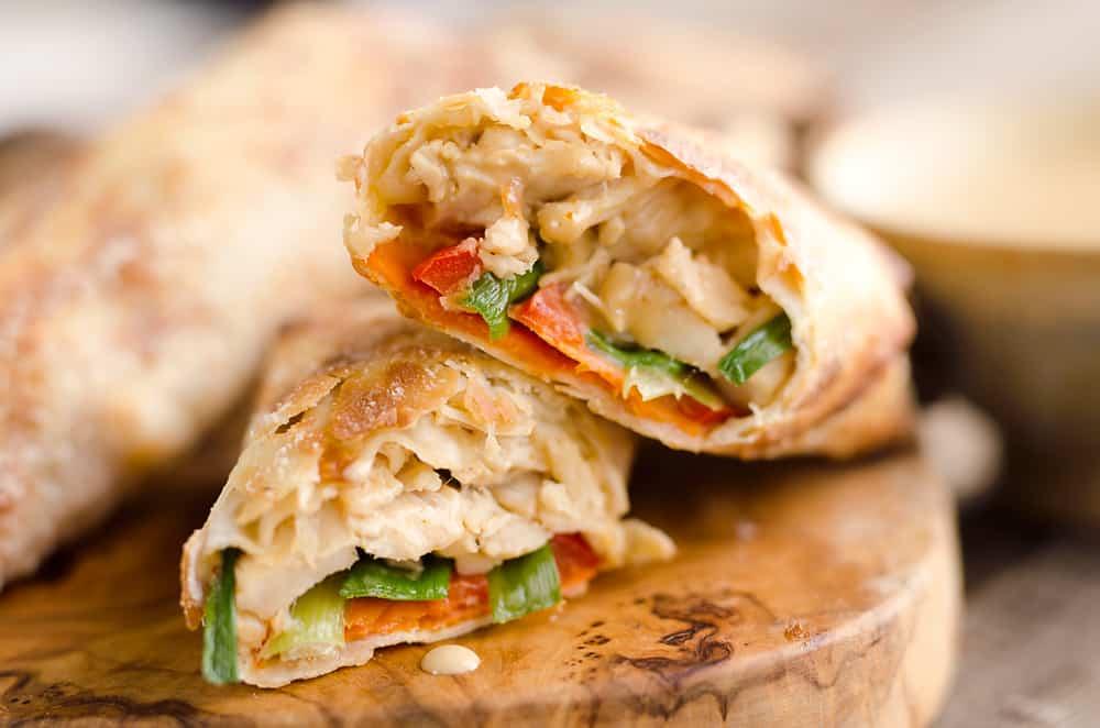 Airfryer baked thai peanut chicken egg rolls