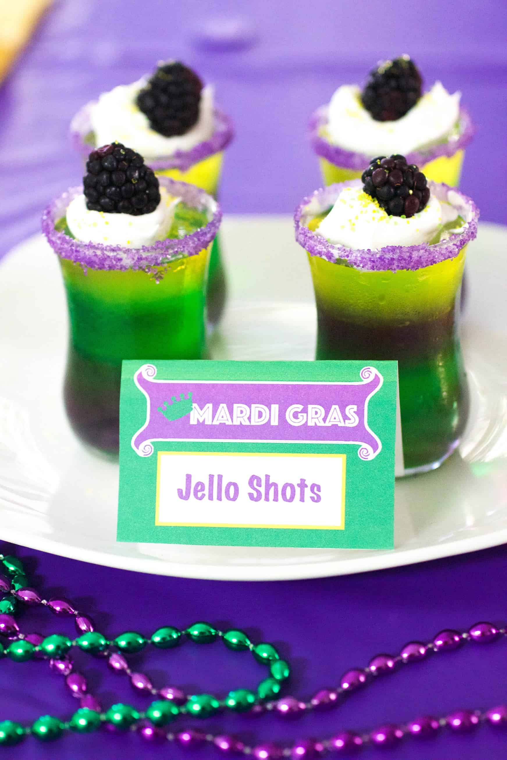 Alcohol free mardi gras shots for kids