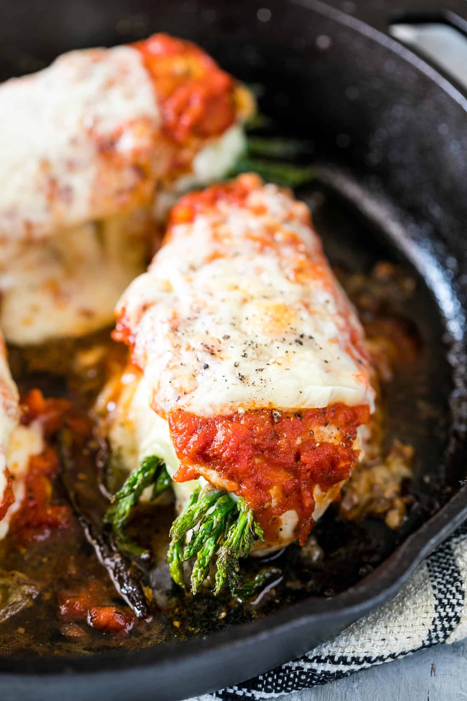 Asparagus stuffed chicken parmesan