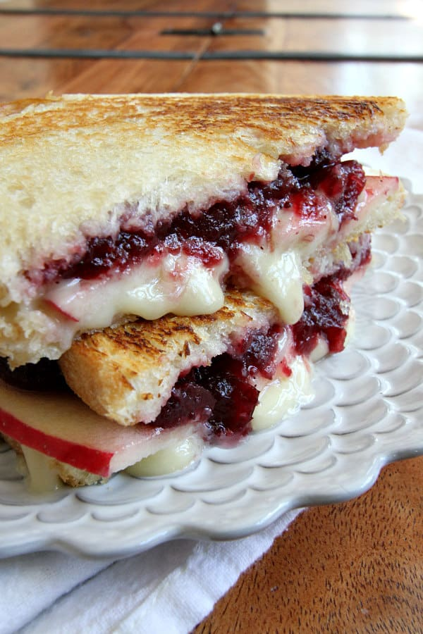 Brie, apple, and cranberry grilled cheese
