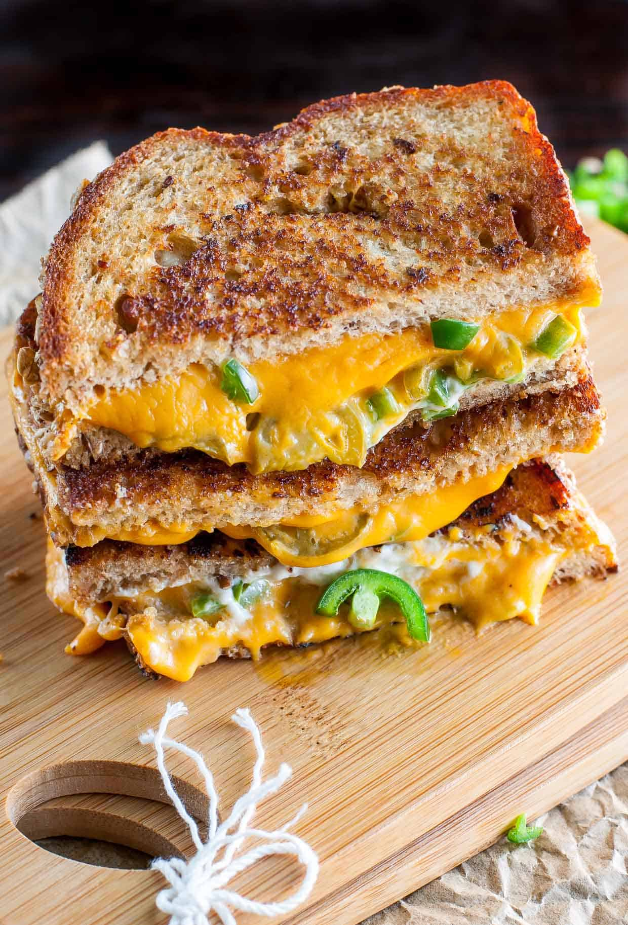 Cheesy jalapeno popper vegan grilled cheese