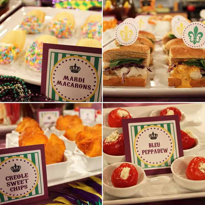 Festive mardi gras snack labels