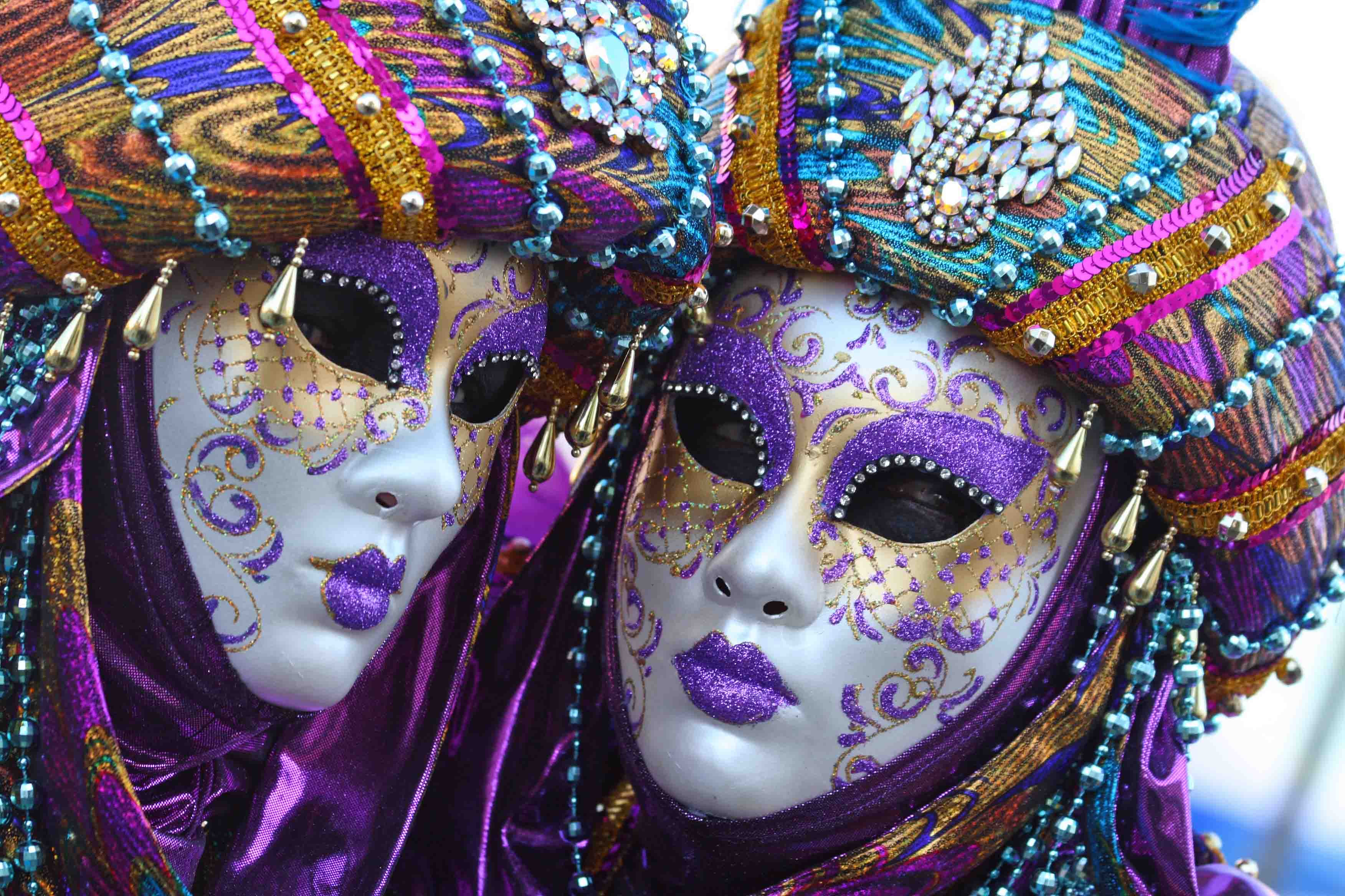 Homemade mardi gras headpieces