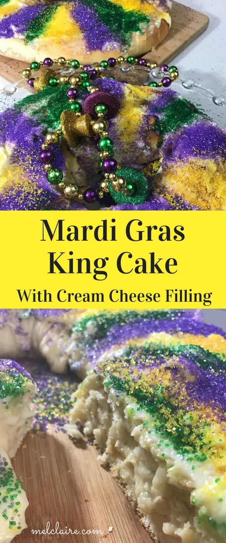 Mardi gras king cake with a cream cheese filing