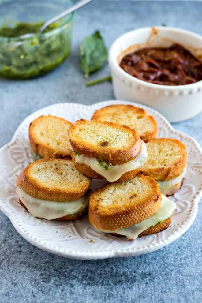 Mini pesto grilled cheese