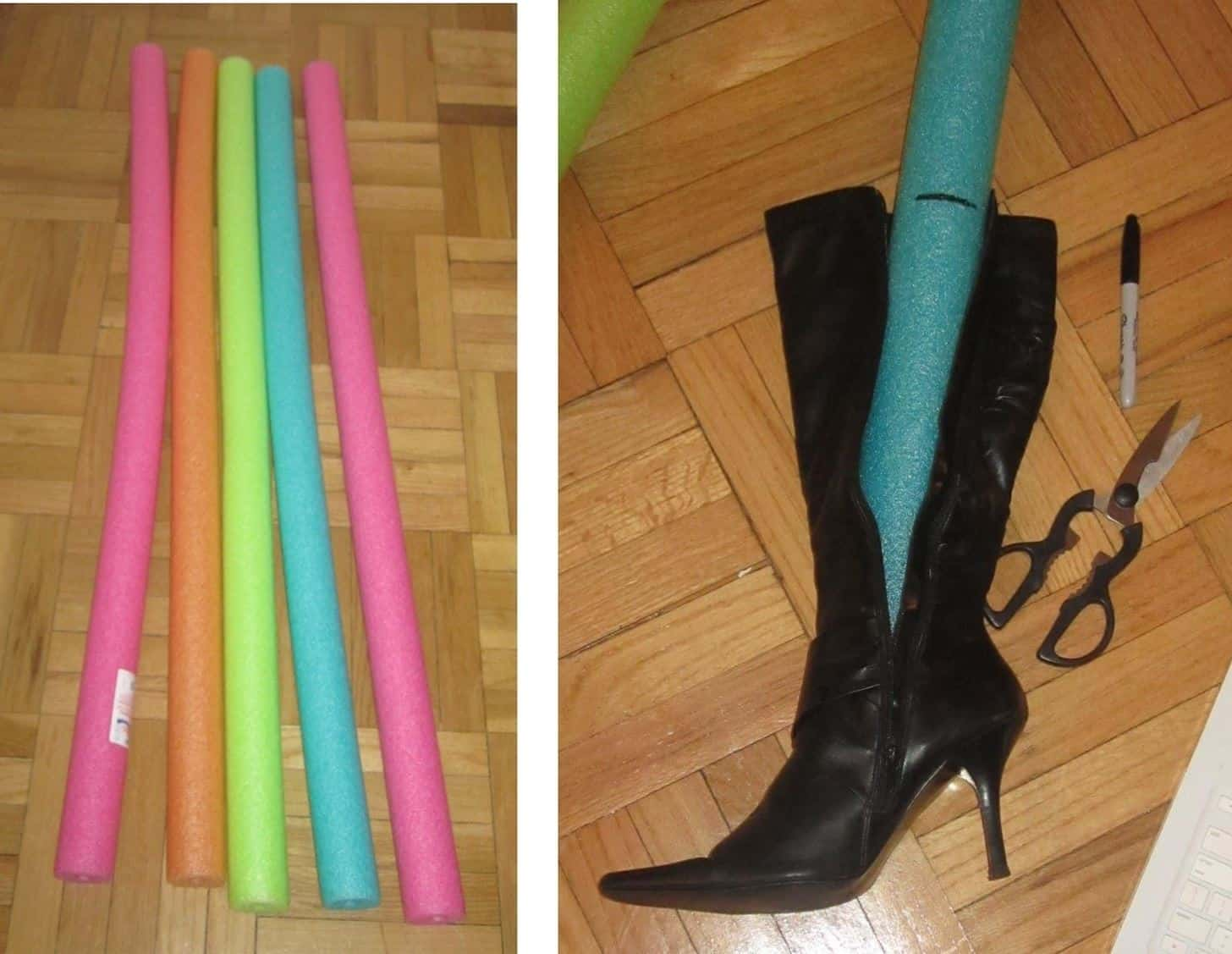 10. Pool Noodles To Keep Tall Boots Standing