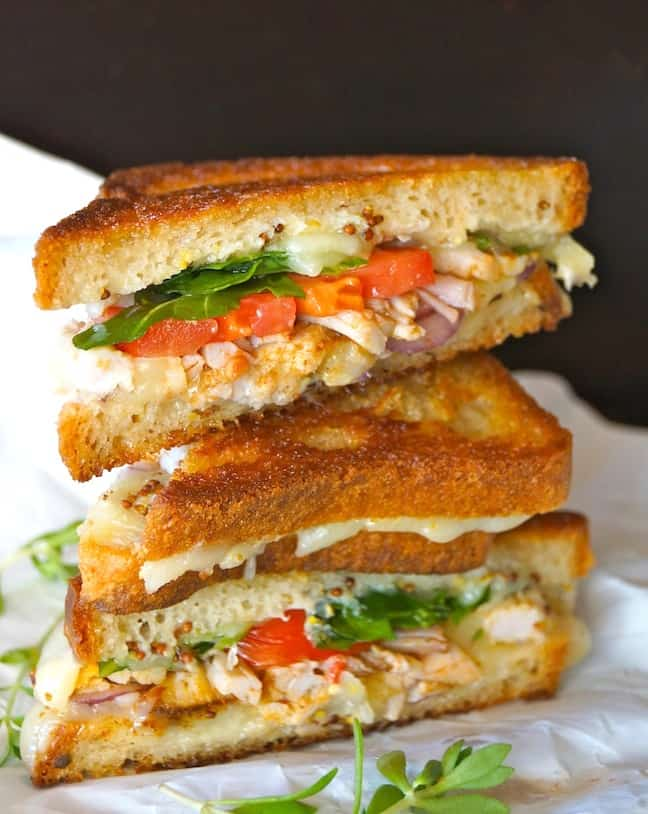 Pulled pork and tomato grilled cheese