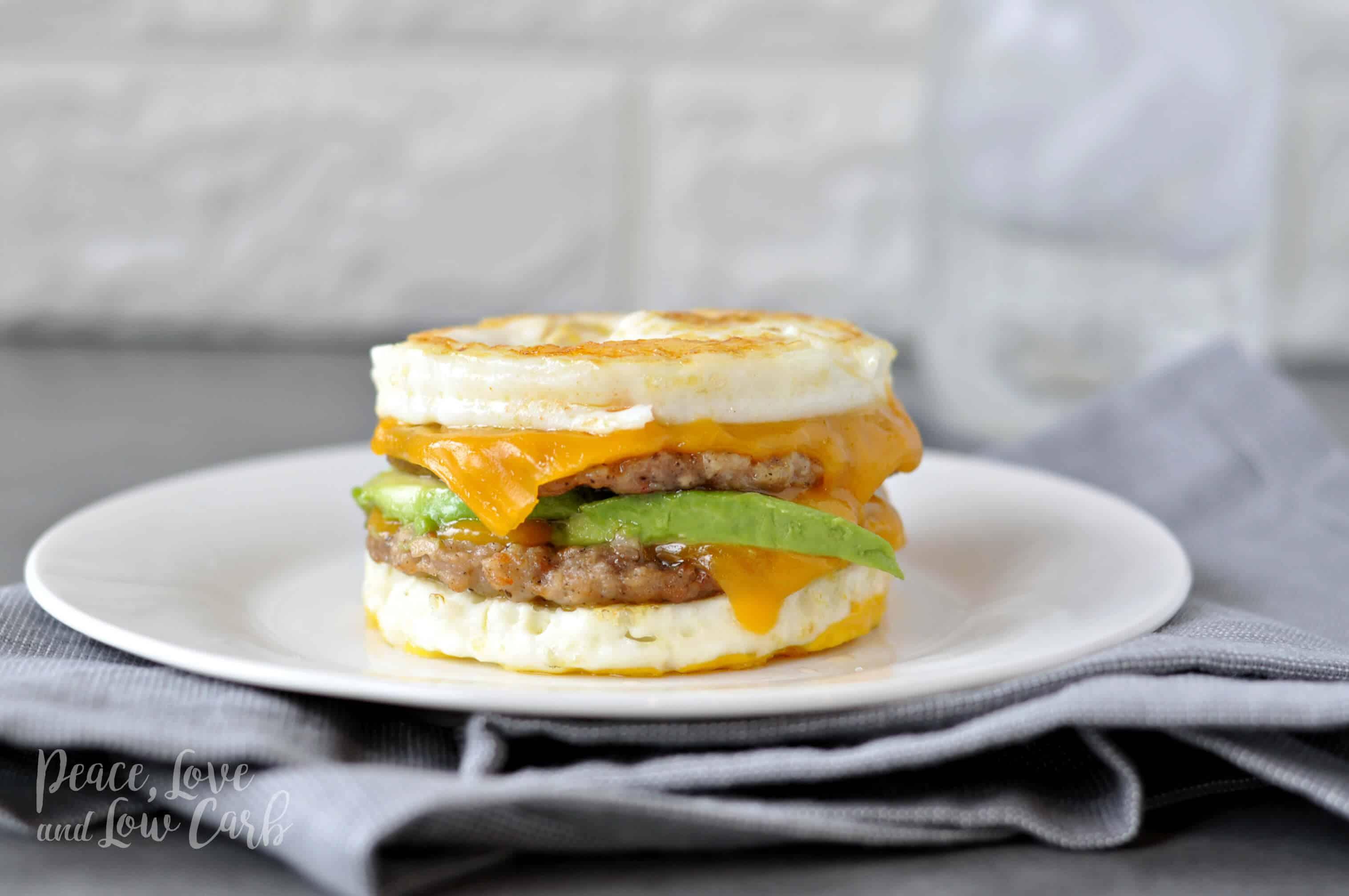 Sausage breakfast sandwich low carb keto gluten free 1 1